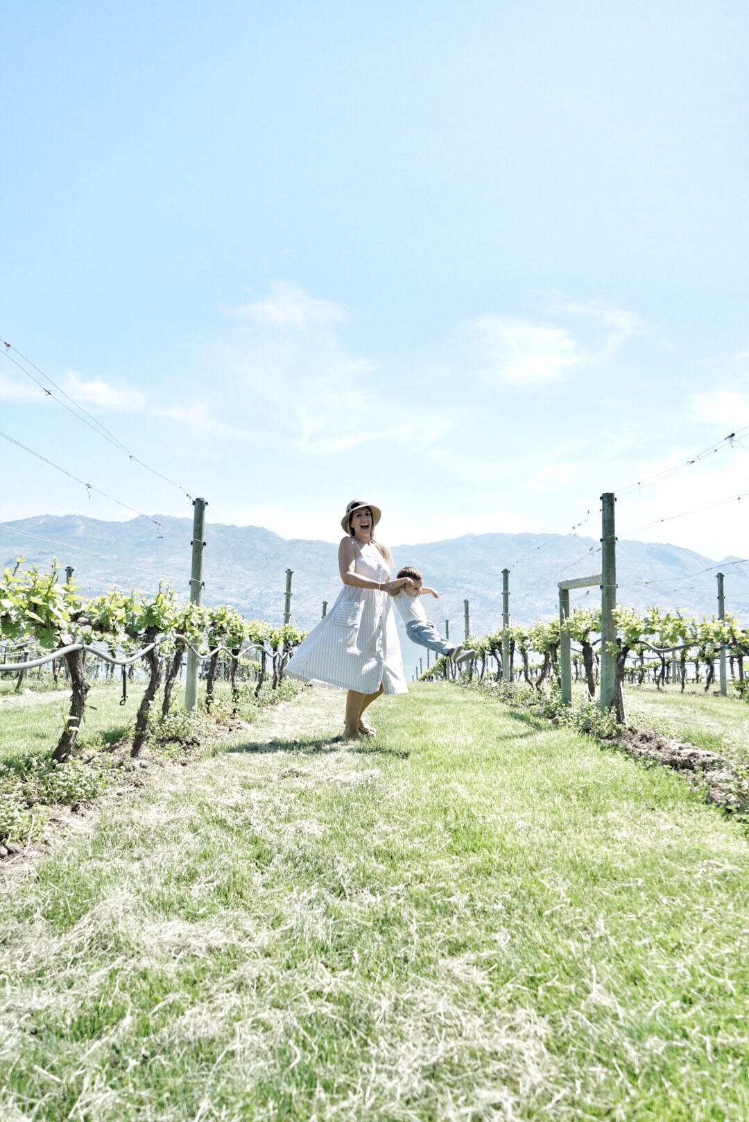 in the vineyards with baby