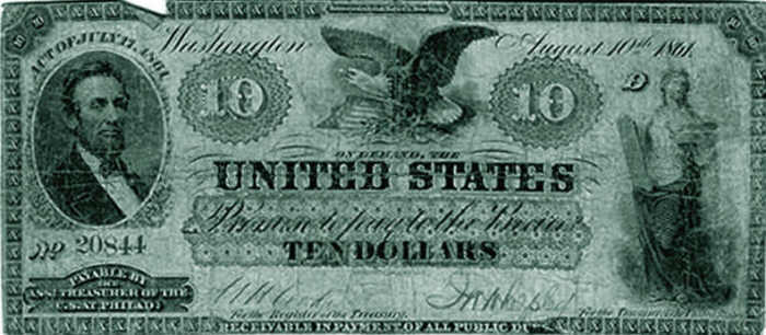 Demand Treasury note printed in 1861. These notes were the 1st paper currency printed by the United States government that were issued for the express purpose of serving as fiat money.
