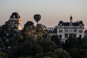 Balloons rising over the Royal Talbot Rehabilitation Centre