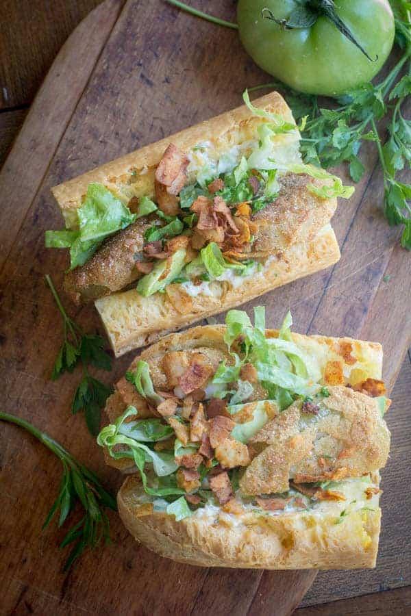Gluten Free Fried Green Tomato Po' Boys recipe from @beardandbonnet www.beardandbonnet.com