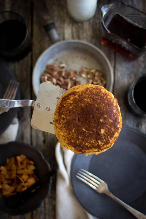 Perfect Saturday morning Pumpkin Butter Pancakes recipe by @beardandbonnet