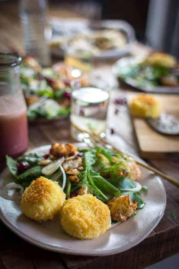 Easy Holiday Kale Salad + Cinnamon Roasted Cauliflower recipe | @thismessisours @taylorfarms #yourtaylorfarms #ATaylorFarmsHoliday