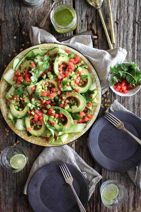 Avocado Avenger Salad recipe || This dreamy summer salad is from @theblendergirl 's latest cookbook The Perfect Blend! It's everything we love about summer on one platter. || @thismessisours #glutenfree #vegan