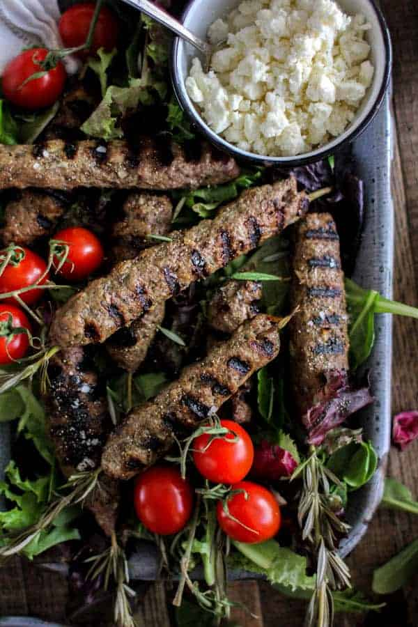 Rosemary Lamb Kofta recipe for Father's Day || We have multiple dietary preferences gathering around our Father's Day table this year , so the menu will appease them all! Rosemary lamb kofta for the meat eaters and fresh homemade falafel for our vegetarians. || @thismessisours @surperiorfarms #FathersDay #glutenfree