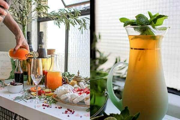 How to Host a Wanderlust Inspired Shower || Guests at our Morocco meets Cali inspired bridal shower sipped on Moroccan Passionfruit Minimalist Iced Tea and helped themselves to a DIY Champagne Bar! || @thismessisours #FriendsWhoFete