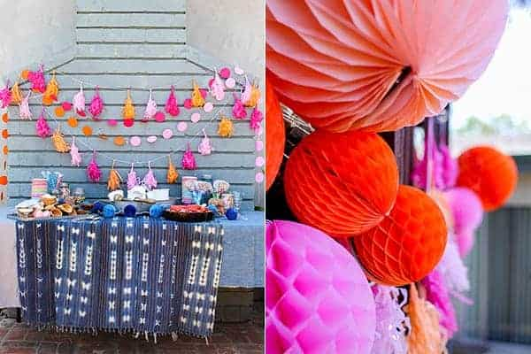 How to Host an Ice Cream Social || Decorating for a laid back ice cream social shouldn't be a hassle. Colorful party decorations like honeycombs and tassel garlands are easy to put up and take down but can make any space feel festive! || @thismessisours #FriendsWhoFete