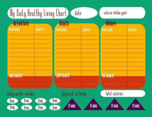 graphic regarding Meal Tracker Printable known as Calorie Monitoring Chart - No cost Printable - This Michigan Daily life