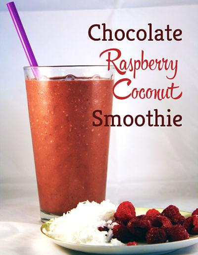 chocolate raspberry coconut smoothie