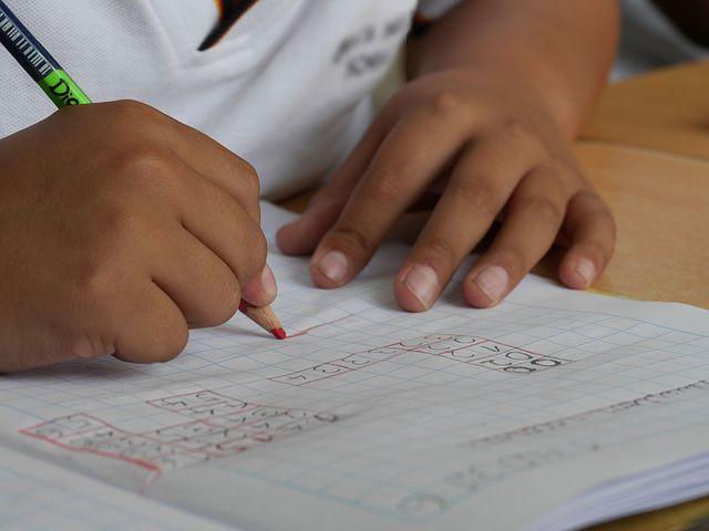 choosing a school child writing