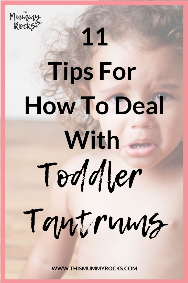 how to deal with toddler tantrums pin graphic. Toddler with sad face crying