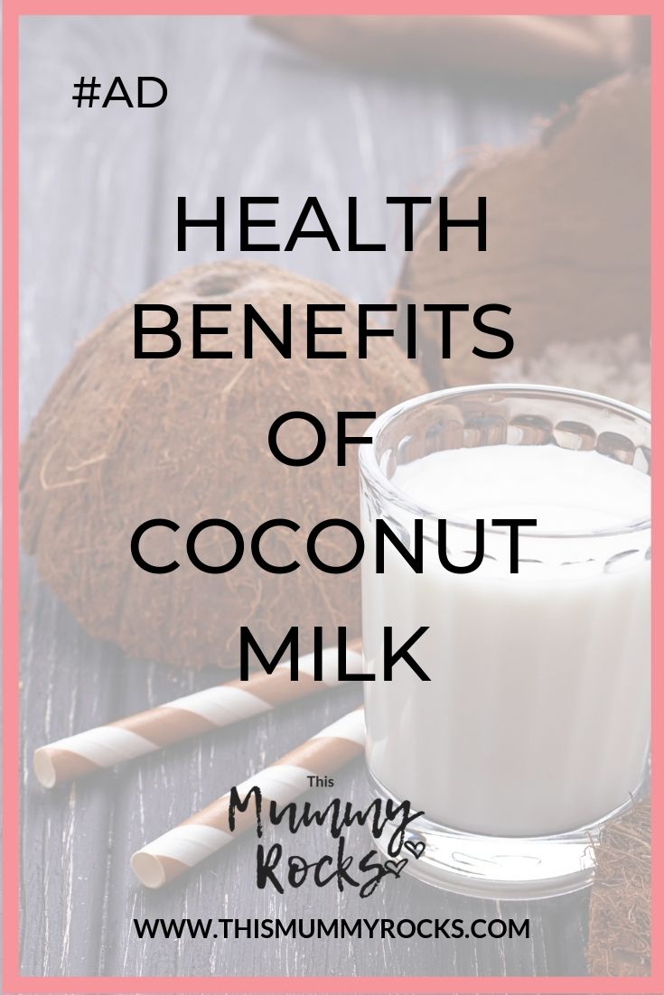 Health benefits of coconut milk pinterest graphic