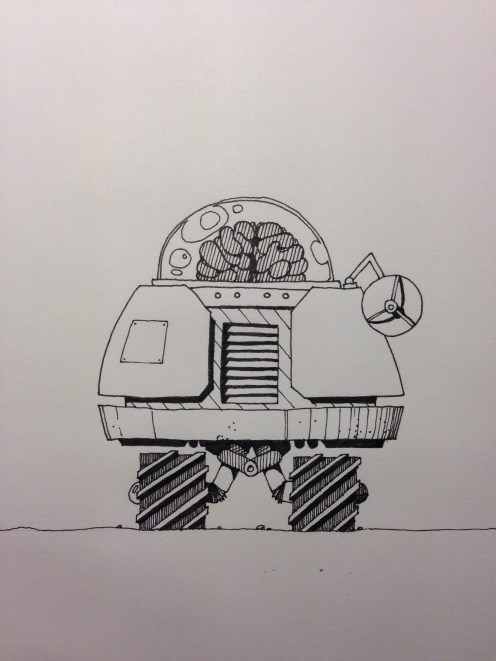 Curious little droid, with pretty cool wheels.