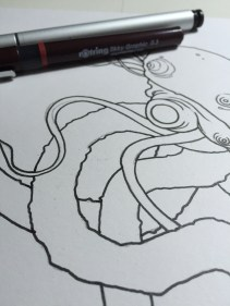 Beginning the inks.