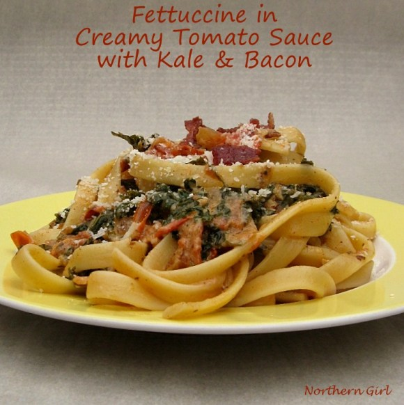 Easy weeknight dinner Fettuccine in Creamy Tomato Sauce with Kale and Bacon