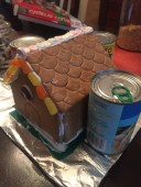 propped up with cans while icing dries