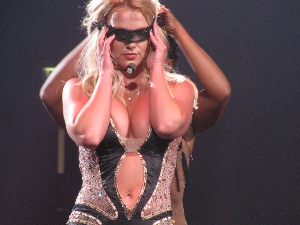 Britney Spears being blindfolded on stage