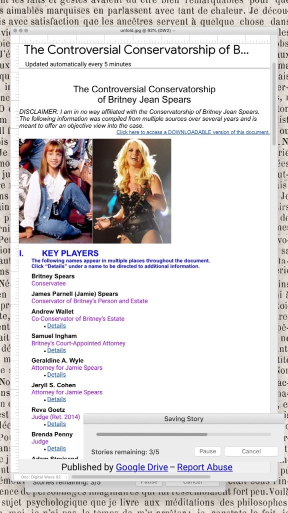 Image of the ultimate timeline of Britney Spears' conservatorship with clickable references. Click on the image to go to the document.
