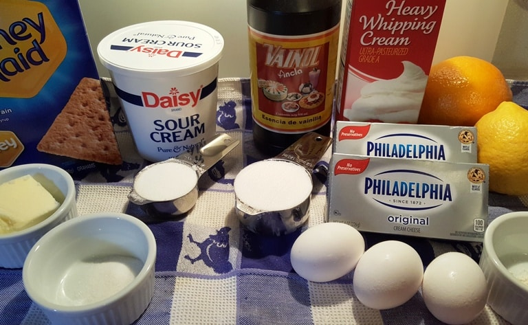 Cast of Ingredients for Pressure Cooker Halloween Spider Web Cheesecake