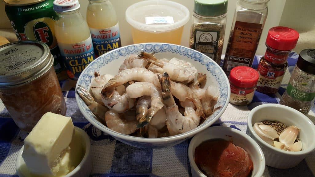 Cast of Ingredients for Pressure Cooker Copycat Killer Shrimp Recipe