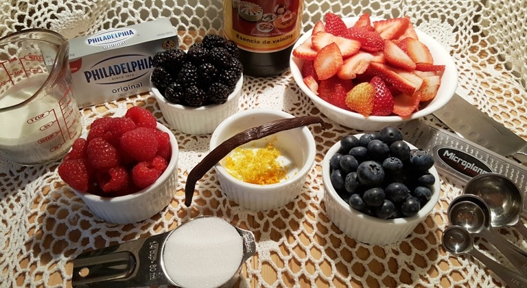 Cast of Ingredients for Red, White & Blue Fresh Berry Cheesecake Salad