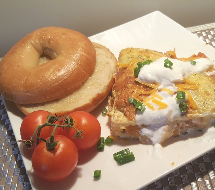 Mexican Salsa Lime Chicken Omelet with a Bagel