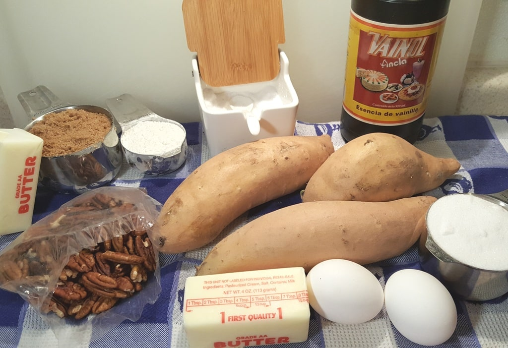 Cast of Ingredients for Ruth's Chris Sweet Potato Casserole