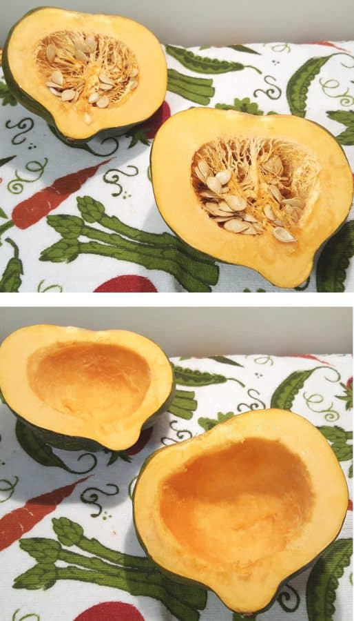 Cut the Squash and Clean out the Seeds
