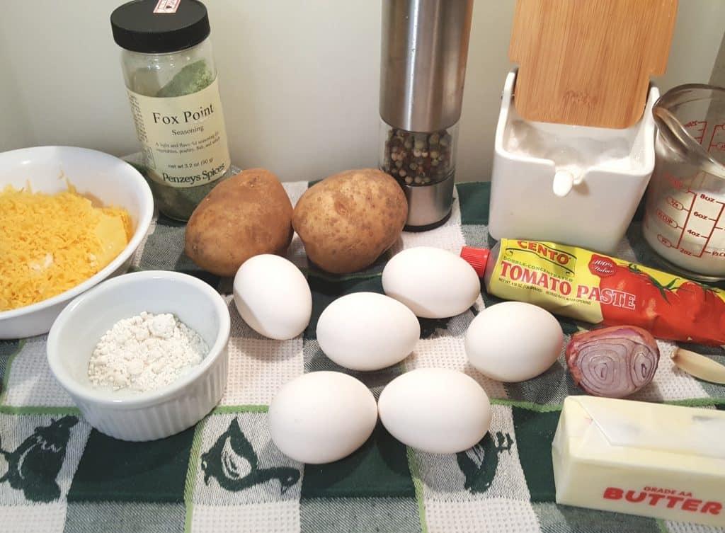 Cast of Ingredients for Pressure Cooker Spanish Tortilla {Potato Egg Frittata}