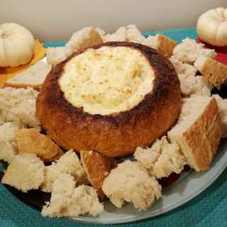 Hot Onion Cheese Dip Bread Bowl