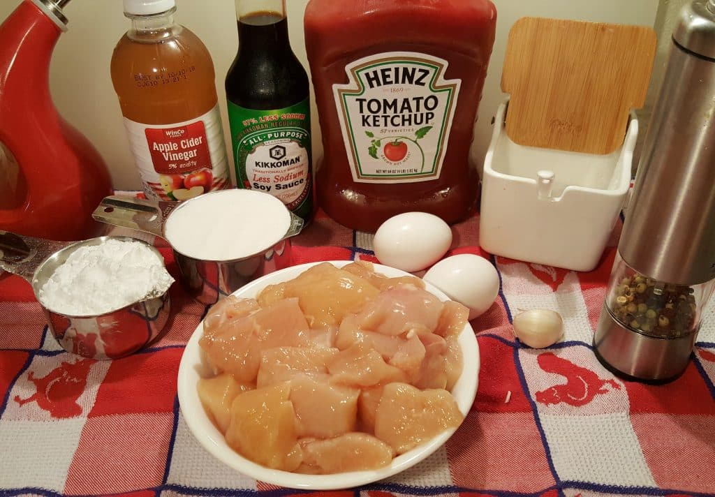 Cast of Ingredients for Pressure Cooker Sweet & Sour Chicken