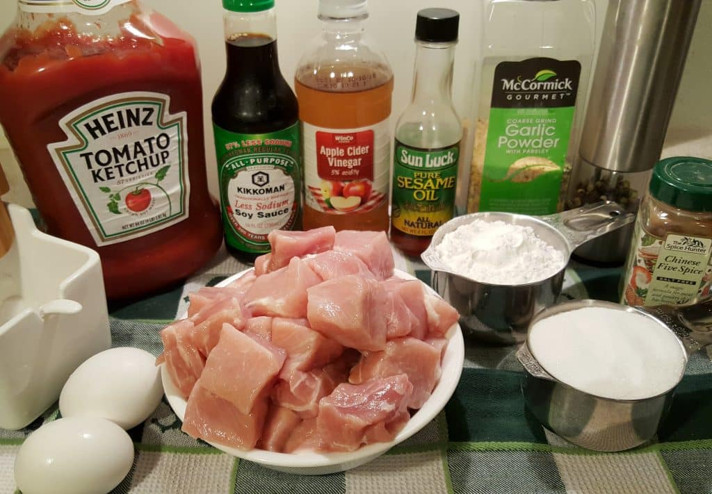 Cast of Ingredients for Air Fryer Chinese Take Out Sweet 'N Sour Pork
