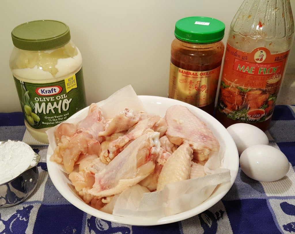 Cast of Ingredients for Air Fryer Spicy Bang Bang Chicken Wings