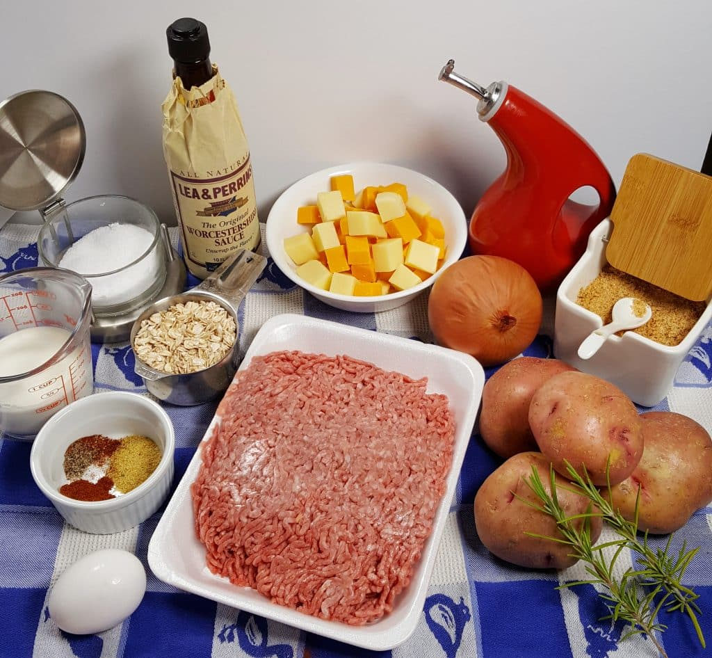 Cast of Ingredients for Pressure Cooker Cheeseburger Meatloaf and Rosemary Potatoes