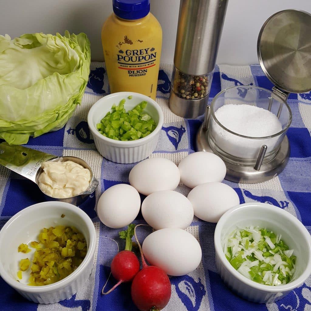 Cast of Ingredients for Pressure Cooker Low Carb Deviled Egg Salad Roll Ups