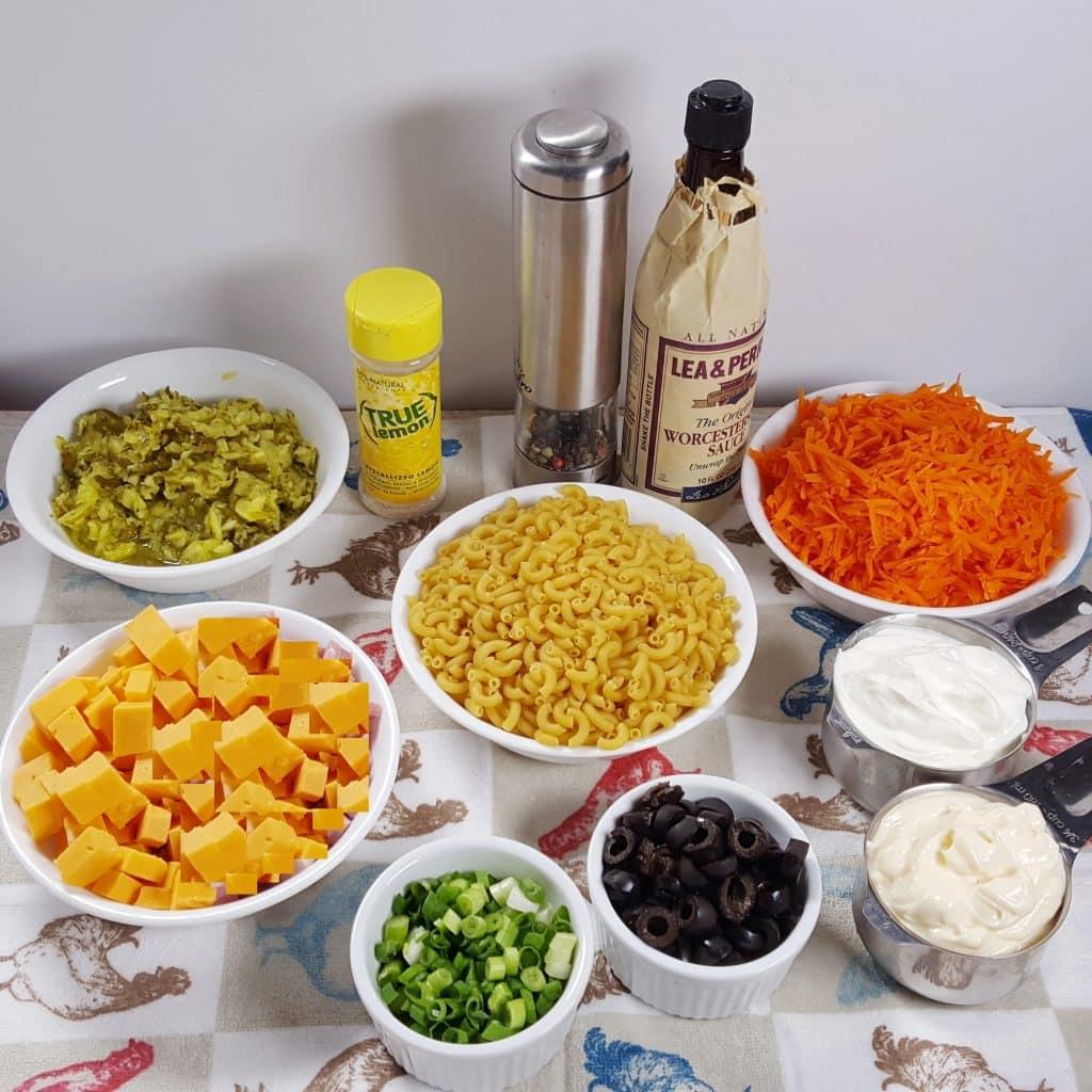 Cast of Ingredients for Pressure Cooker Best Macaroni Salad Recipe