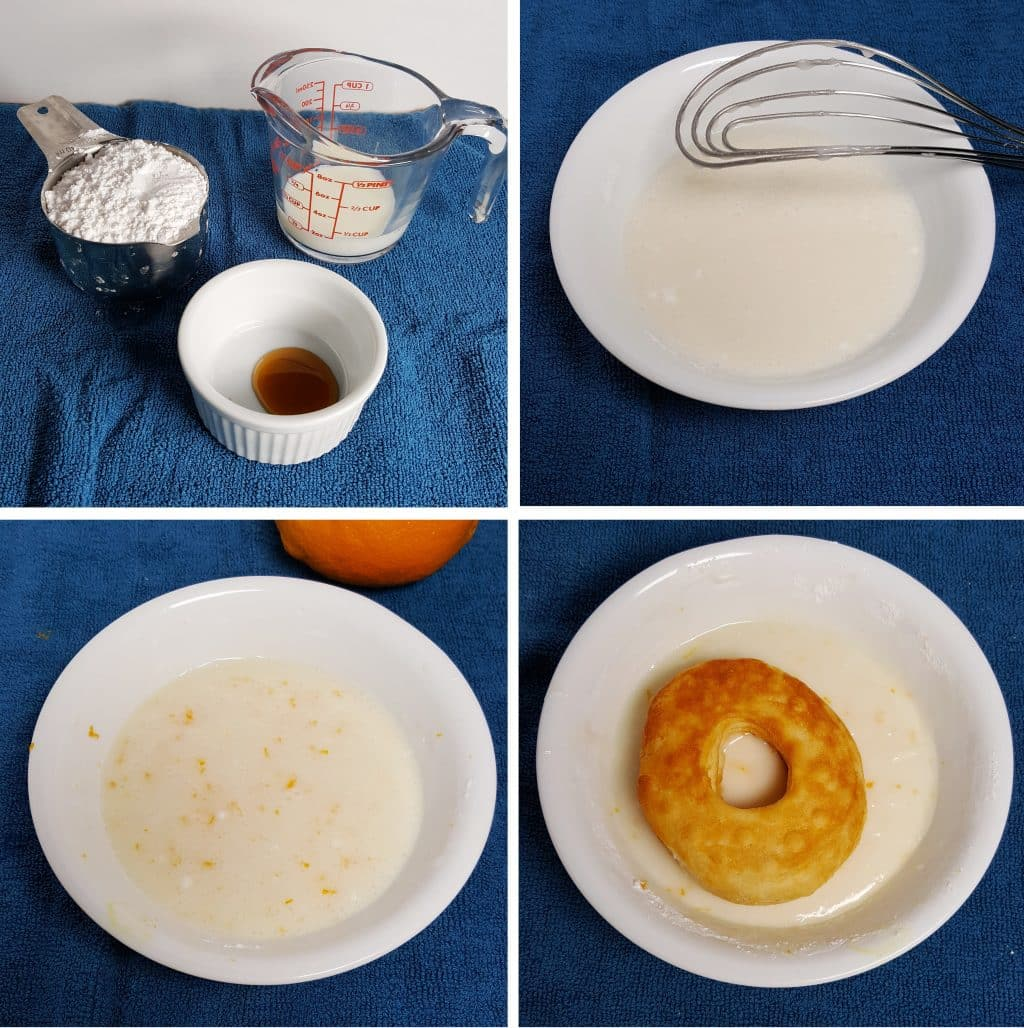 Powdered sugar, milk and vanilla get mixed together and then the hot doughnut is dipped into the bowl