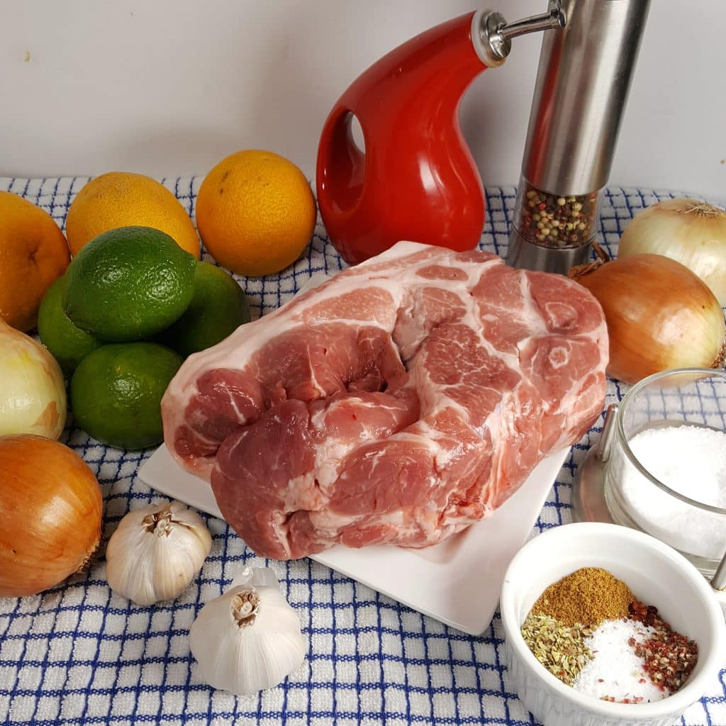 Cast of Ingredients for Pressure CookerLechón Asado {Cuban Pork with Mojo}