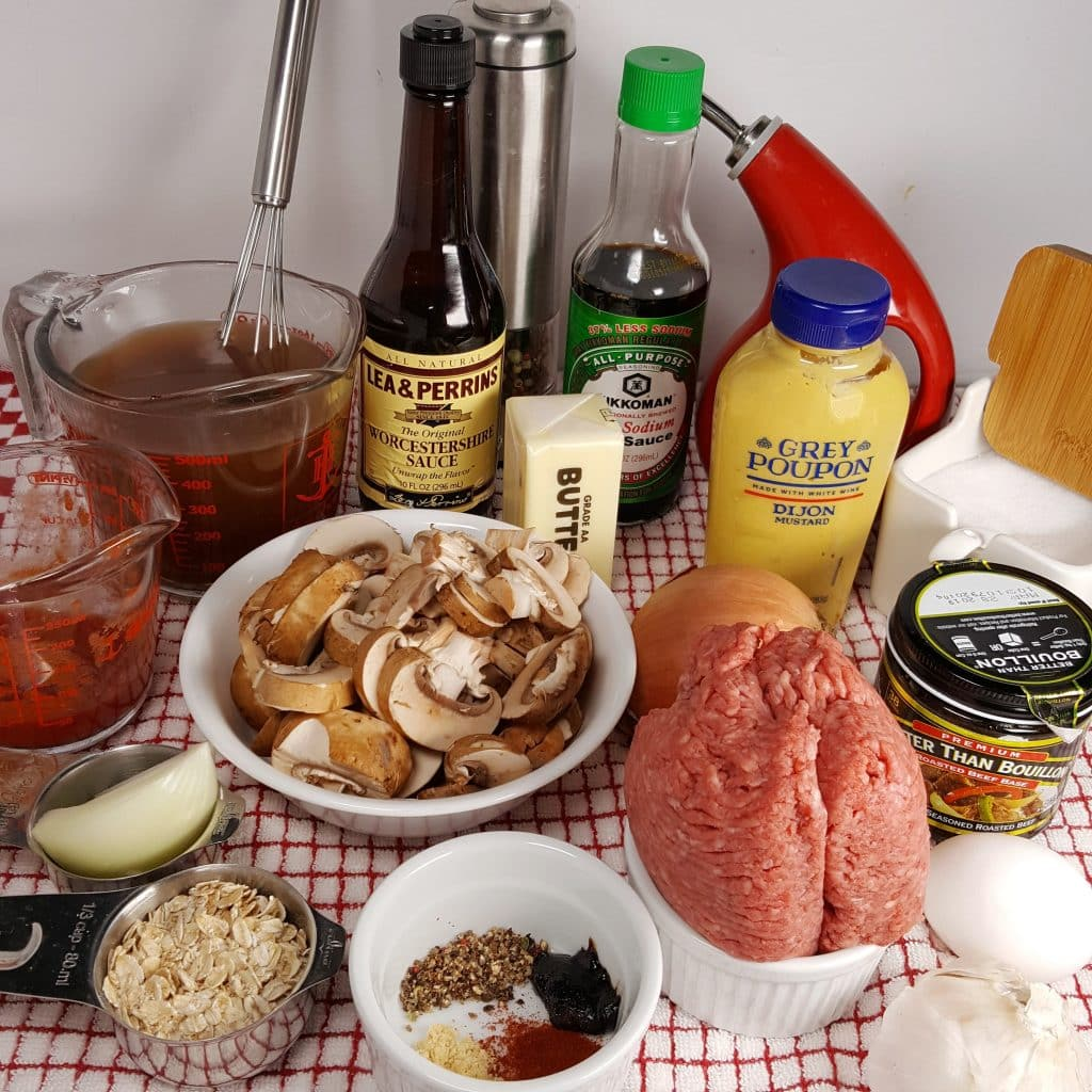 Cast of Ingredients for Pressure Cooker Salisbury Steak