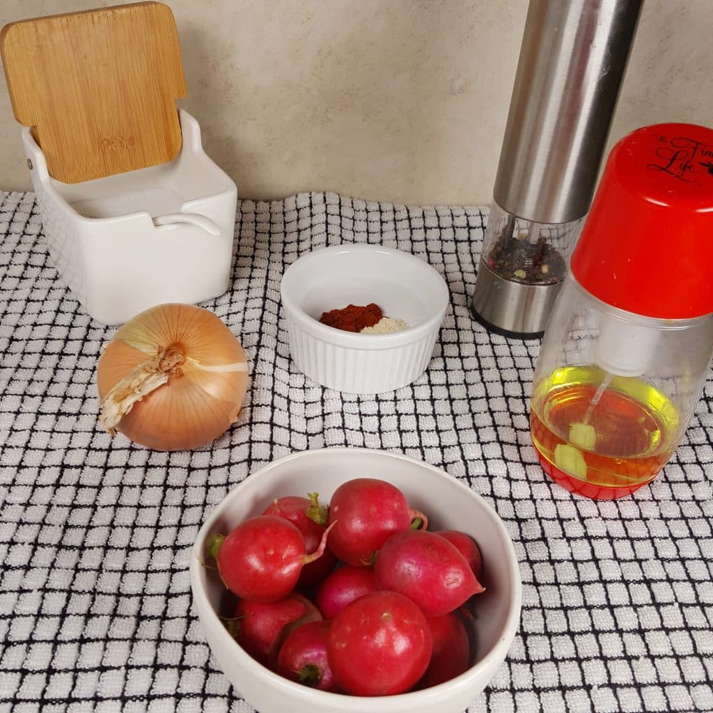 Cast of Ingredients for Air Fryer Radish Hash Browns