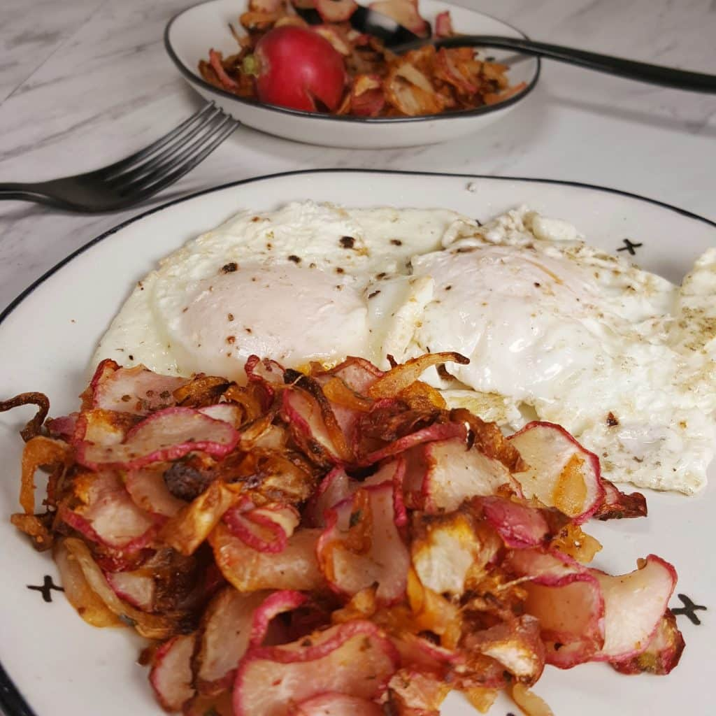 Eggs and Air Fryer Radish Hash Browns