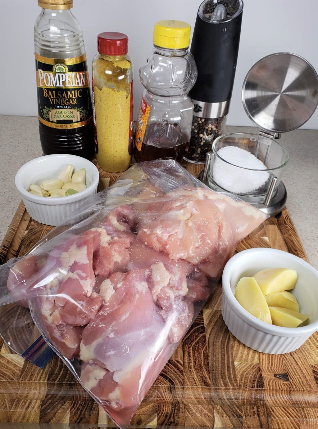 Cast of Ingredients for Pressure Cooker Balsamic Ginger Chicken