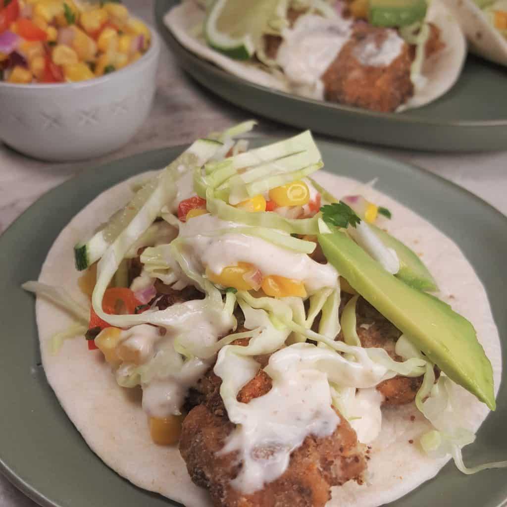 Air Fryer Baja Fish Tacos with Corn Salsa