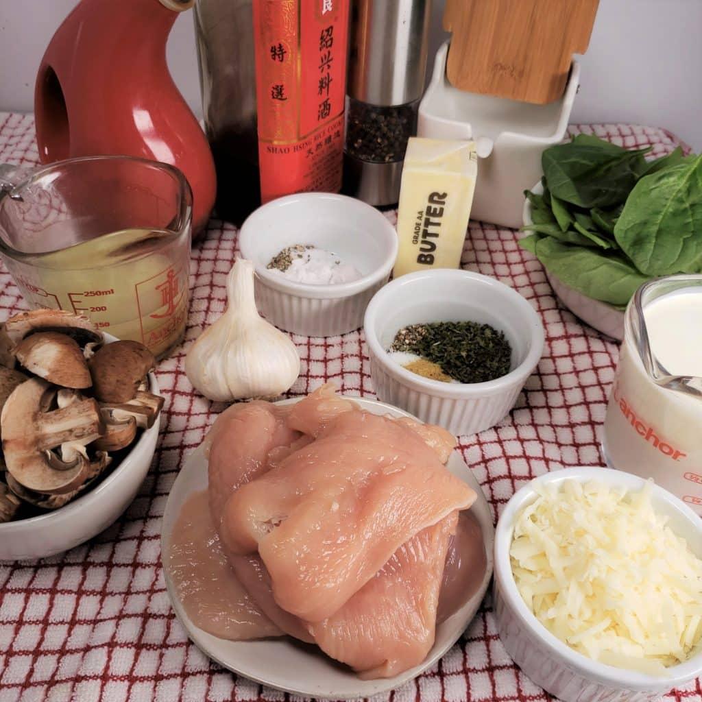 Cast of Ingredients for Instant Pot Creamy Parmesan Garlic Mushroom Chicken