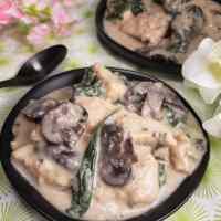 Pressure Cooker Creamy Parmesan Garlic Mushroom Chicken