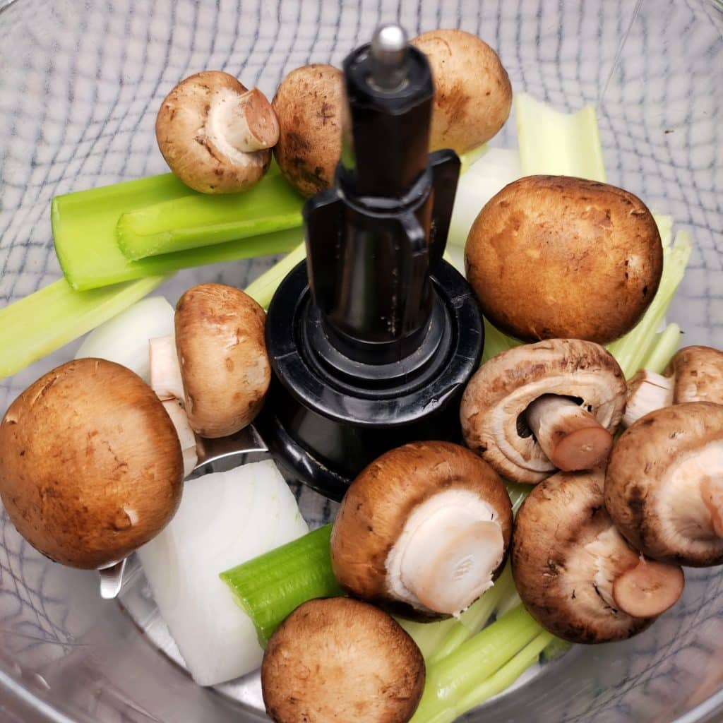 Use a food processor to Process Mushrooms, Onions and Celery