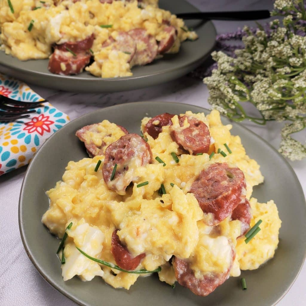 Sausage & Feta Eggs Breakfast Scramble