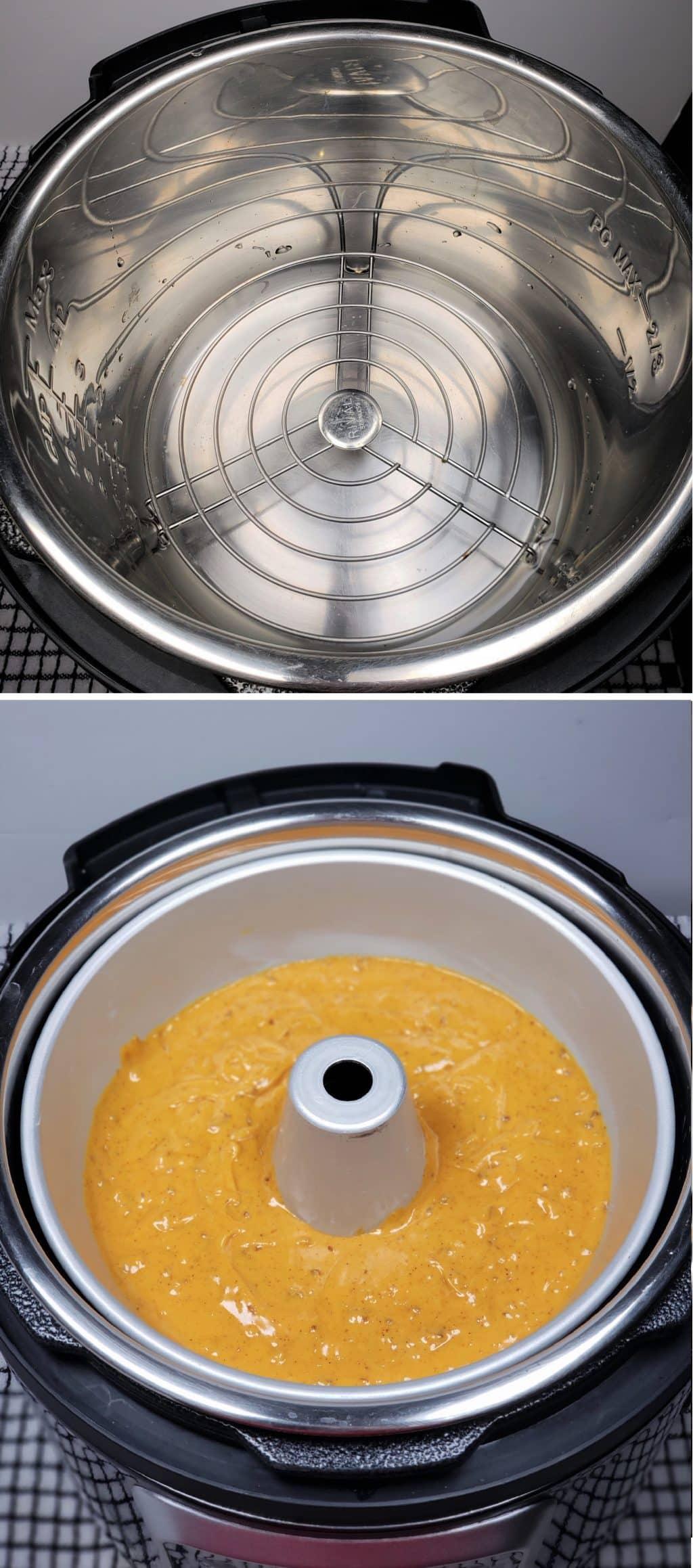 Water, Trivet and Cake Pan in Cooking Pot