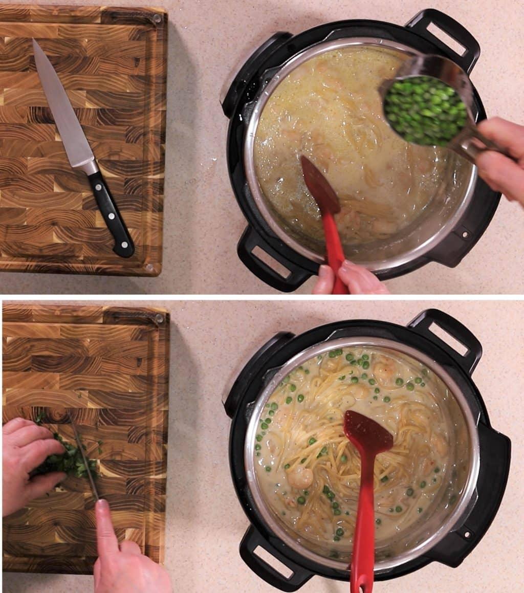 Add Frozen Peas and Stir