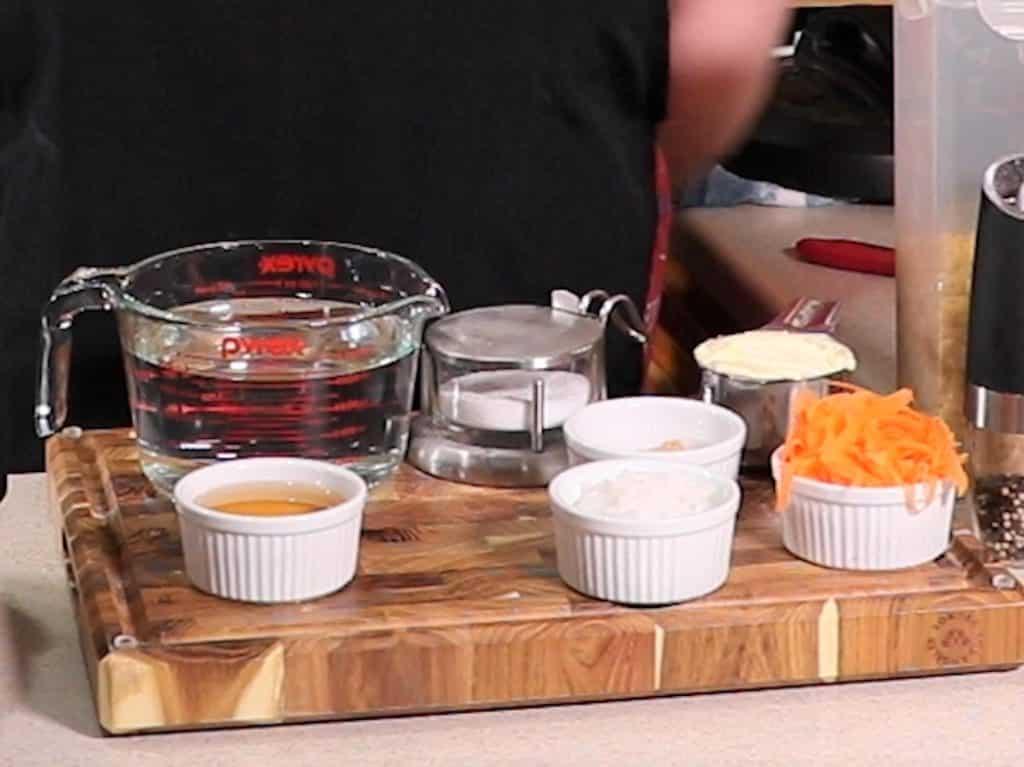 Cast of Ingredients for Instant Pot Hawaiian Macaroni Salad