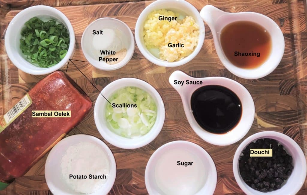 Cast of Ingredients for Chinese Spareribs with Black Bean Sauce